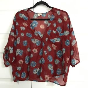 URBAN OUTFITTERS Pins & Needles Red Floral Blouse